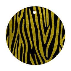 Skin4 Black Marble & Yellow Leather Round Ornament (two Sides)