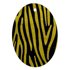 Skin4 Black Marble & Yellow Leather Oval Ornament (two Sides)