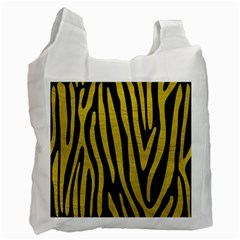 Skin4 Black Marble & Yellow Leather Recycle Bag (one Side)