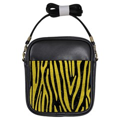 Skin4 Black Marble & Yellow Leather Girls Sling Bags
