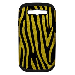 Skin4 Black Marble & Yellow Leather Samsung Galaxy S Iii Hardshell Case (pc+silicone)
