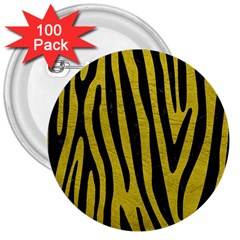 Skin4 Black Marble & Yellow Leather (r) 3  Buttons (100 Pack)
