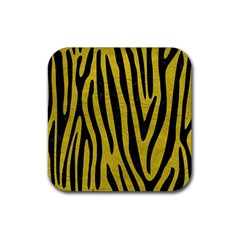Skin4 Black Marble & Yellow Leather (r) Rubber Square Coaster (4 Pack)