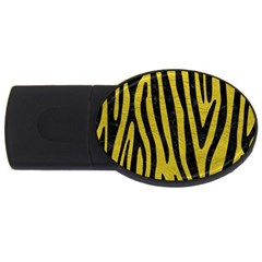 Skin4 Black Marble & Yellow Leather (r) Usb Flash Drive Oval (4 Gb)