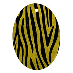 Skin4 Black Marble & Yellow Leather (r) Oval Ornament (two Sides)