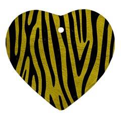 Skin4 Black Marble & Yellow Leather (r) Heart Ornament (two Sides)