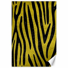 Skin4 Black Marble & Yellow Leather (r) Canvas 12  X 18