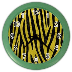 Skin4 Black Marble & Yellow Leather (r) Color Wall Clocks