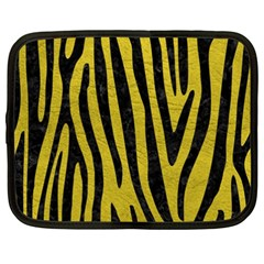 Skin4 Black Marble & Yellow Leather (r) Netbook Case (xxl)