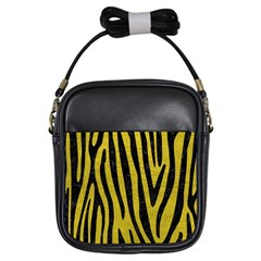 Skin4 Black Marble & Yellow Leather (r) Girls Sling Bags