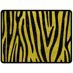 Skin4 Black Marble & Yellow Leather (r) Fleece Blanket (large)