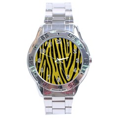 Skin4 Black Marble & Yellow Leather (r) Stainless Steel Analogue Watch
