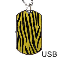 Skin4 Black Marble & Yellow Leather (r) Dog Tag Usb Flash (two Sides)