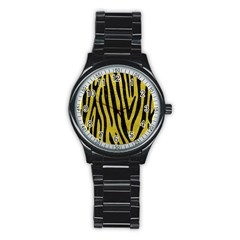 Skin4 Black Marble & Yellow Leather (r) Stainless Steel Round Watch