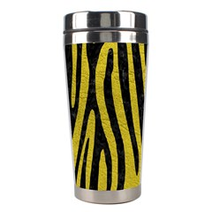 Skin4 Black Marble & Yellow Leather (r) Stainless Steel Travel Tumblers