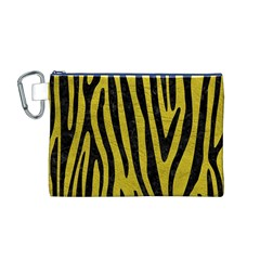 Skin4 Black Marble & Yellow Leather (r) Canvas Cosmetic Bag (m)