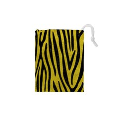 Skin4 Black Marble & Yellow Leather (r) Drawstring Pouches (xs)