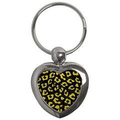 Skin5 Black Marble & Yellow Leather Key Chains (heart)