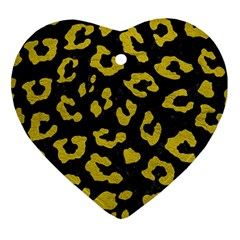 Skin5 Black Marble & Yellow Leather Heart Ornament (two Sides)