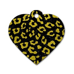 Skin5 Black Marble & Yellow Leather Dog Tag Heart (two Sides)