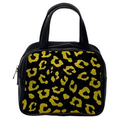 Skin5 Black Marble & Yellow Leather Classic Handbags (one Side)