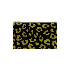 Skin5 Black Marble & Yellow Leather Cosmetic Bag (small)