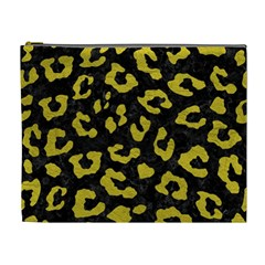 Skin5 Black Marble & Yellow Leather Cosmetic Bag (xl)