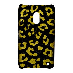 Skin5 Black Marble & Yellow Leather Nokia Lumia 620