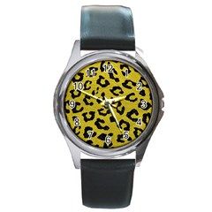 Skin5 Black Marble & Yellow Leather (r) Round Metal Watch