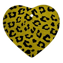 Skin5 Black Marble & Yellow Leather (r) Ornament (heart)