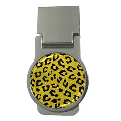 Skin5 Black Marble & Yellow Leather (r) Money Clips (round)