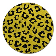 Skin5 Black Marble & Yellow Leather (r) Magnet 5  (round)