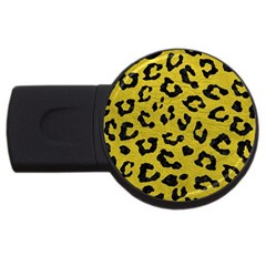 Skin5 Black Marble & Yellow Leather (r) Usb Flash Drive Round (4 Gb)