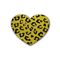 Skin5 Black Marble & Yellow Leather (r) Rubber Coaster (heart)
