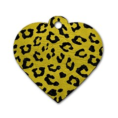 Skin5 Black Marble & Yellow Leather (r) Dog Tag Heart (two Sides)