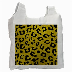 Skin5 Black Marble & Yellow Leather (r) Recycle Bag (one Side)