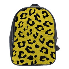 Skin5 Black Marble & Yellow Leather (r) School Bag (large)