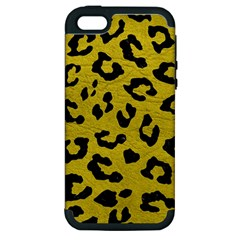 Skin5 Black Marble & Yellow Leather (r) Apple Iphone 5 Hardshell Case (pc+silicone)
