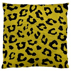 Skin5 Black Marble & Yellow Leather (r) Large Flano Cushion Case (two Sides)