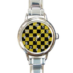 Square1 Black Marble & Yellow Leather Round Italian Charm Watch