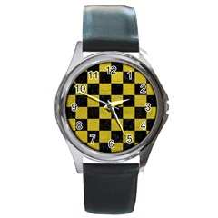 Square1 Black Marble & Yellow Leather Round Metal Watch