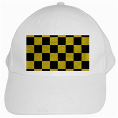 Square1 Black Marble & Yellow Leather White Cap