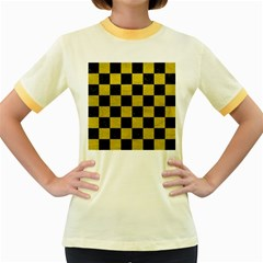 Square1 Black Marble & Yellow Leather Women s Fitted Ringer T Shirts