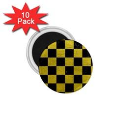 Square1 Black Marble & Yellow Leather 1 75  Magnets (10 Pack)