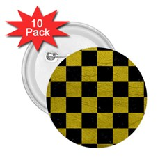 Square1 Black Marble & Yellow Leather 2 25  Buttons (10 Pack)