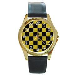 Square1 Black Marble & Yellow Leather Round Gold Metal Watch