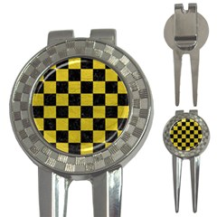 Square1 Black Marble & Yellow Leather 3 In 1 Golf Divots