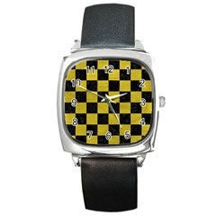 Square1 Black Marble & Yellow Leather Square Metal Watch