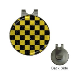 Square1 Black Marble & Yellow Leather Hat Clips With Golf Markers