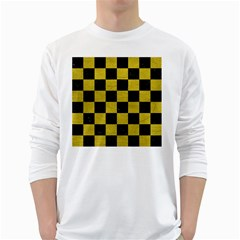 Square1 Black Marble & Yellow Leather White Long Sleeve T Shirts